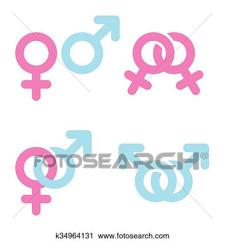Clipart Of Male And Female Symbols Combination K34964131 Search