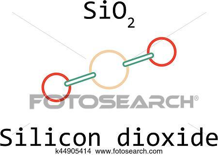 Clipart Of Molecule Sio2 Silicon Dioxide K44905414 Search Clip Art