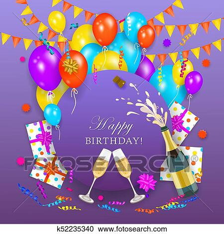 Clipart Of Vector Happy Birthday Banner Poster Template K52235340
