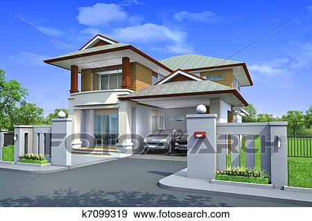 3d rendering Exclusive two floor tropical modern house on the nature & Stock Photograph of 3d rendering Exclusive two floor tropical ...