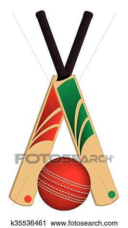 clipart of cricket ball and 2 bats crossed k35536461 search clip rh fotosearch com crossed baseball bats clipart black and white