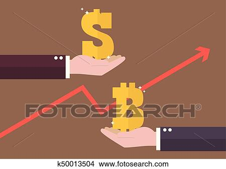 Clipart Currency Exchange Dollar And Bitcoin Fotosearch Search Clip Art Ilration Murals