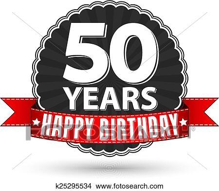 Clipart Gelukkige Verjaardag 50 Jaren Grootmoederstijd Etiket
