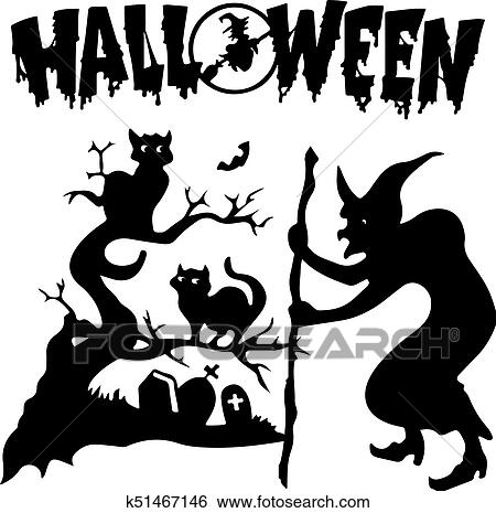 Halloween. Silhouette witch in a cemetery near a tree where black cats sit,  on white background, Clip Art