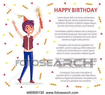 Happy Birthday Invitation Card Man With Firework Clipart