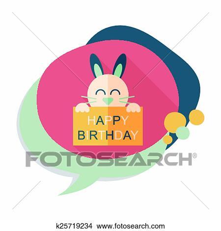 Joyeux Anniversaire Lapin Carte Plat Icône à Long Ombre Clipart