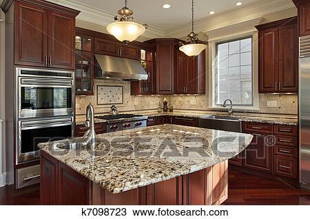 stock foto kueche mit granit insel k7098723 suche stock fotografien posterbilder bilder. Black Bedroom Furniture Sets. Home Design Ideas