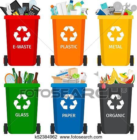 Clipart Lixo Em Latas Lixo Com Classificado Garbage