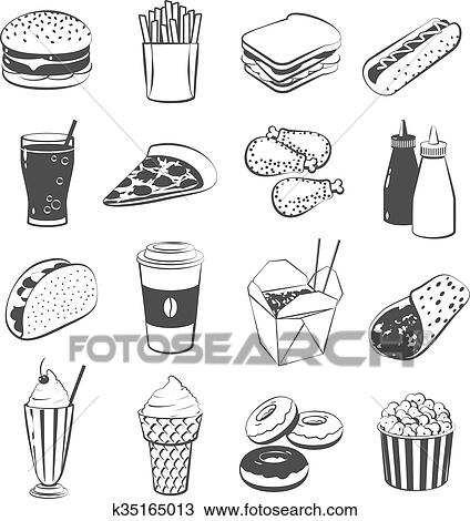 set of cartoon fast food hamburger french fries sandwich hot dog pizza chicken ketchup and mustard taco coffee black and white version vector isolated on transparent background clipart k35165013 fotosearch https www fotosearch com csp709 k35165013