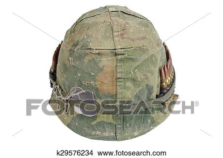 Us Army Helmet With Camouflage Cover And Ammo Belt And Dog Tags Vietnam War Period Picture K29576234 Fotosearch