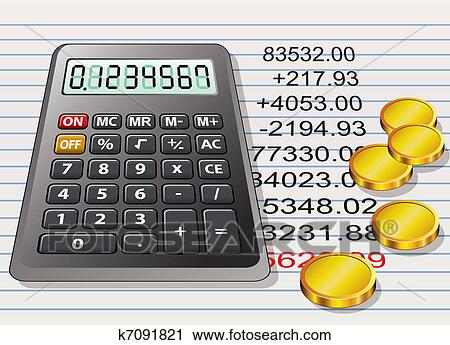 clipart of vector calculator golden coins and a sheet of paper with