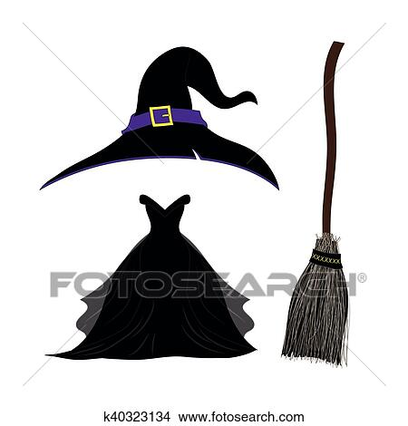 clipart of witch hat with strap and buckle black gothic witch dress