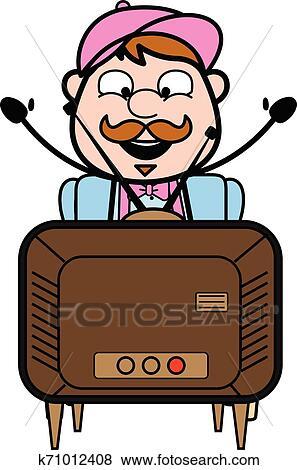 التلفزيون المراقب أيضا استمتع Retro رجل التسليم البائع سهم التوجيه تصوير Clip Art K71012408 Fotosearch