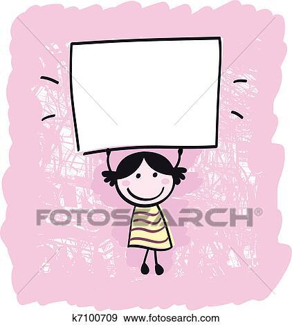 幸せ かわいい 女の子 保有物 空 ブランク 旗 漫画 イラスト