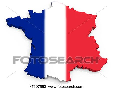 France Map Flag.Stock Photo Of 3d Map Of France With Flag French Republic K7107553