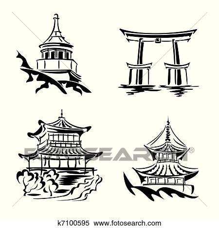clipart asiático templo k7100595 busca de ilustrações clip art