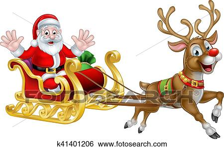 Christmas Cartoon Santa and Reindeer Sleigh Clip Art ...