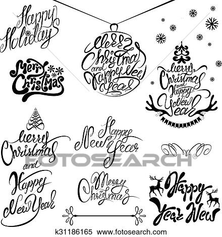 Christmas Calligraphy.Collection Of Merry Christmas And Happt New Year Calligraphy Handwritten Texts For Winter Holidays Design Clipart