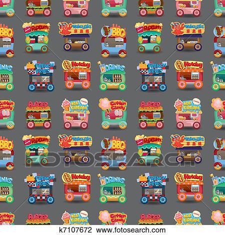 Dessin anim march magasin voiture seamless mod le clipart k7107672 fotosearch - Modele dessin voiture ...