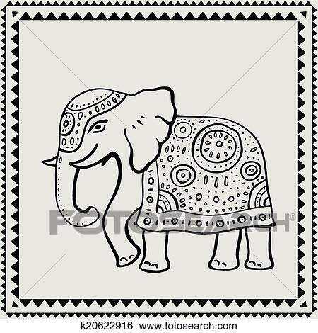clipart ethnique elephant indien style k20622916 recherchez des cliparts des. Black Bedroom Furniture Sets. Home Design Ideas