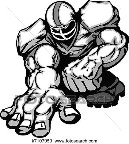 clipart of football player lineman cartoon k7107953 search clip rh fotosearch com  cartoon soccer player clipart