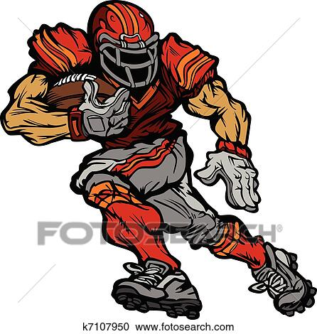clipart of football player runningback cartoon k7107950 search rh fotosearch com