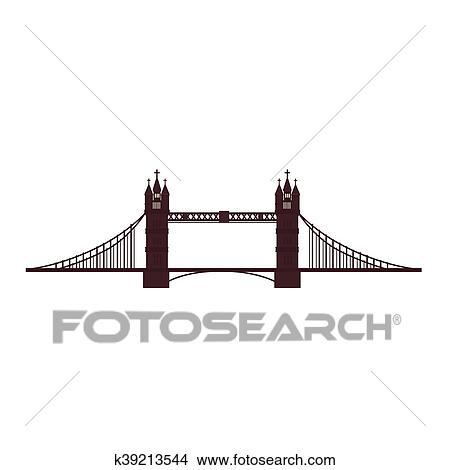 Clipart Of London Tower Bridge Icon Vector Graphic K39213544