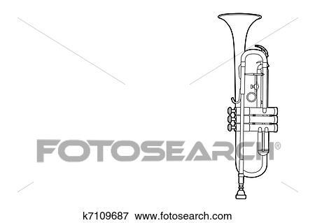 clip art of outline trumpet k7109687 search clipart illustration rh fotosearch com Trumpet Silhouette Clip Art Trumpet Clip Art Outline SVG