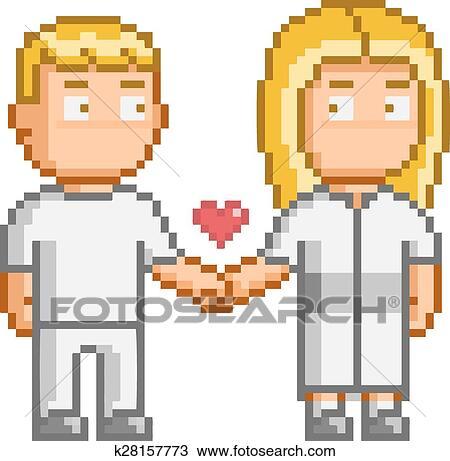 Pixel Art Gens Amour Vous Clipart