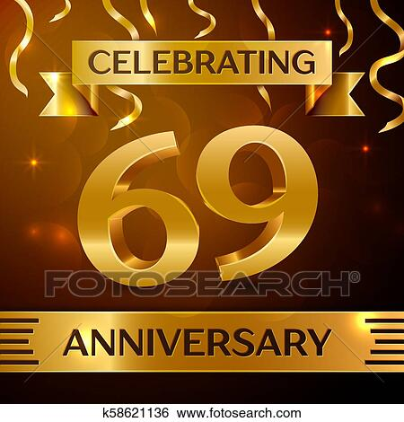 clip art realistic sixty nine years anniversary celebration design golden confetti and gold ribbon