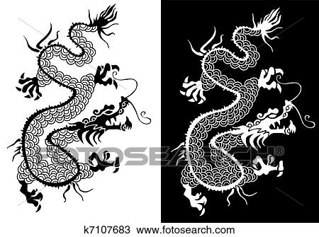 Clipart - schwarz weiß, chinesischer drache, vector. k7107683 ...