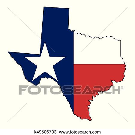 Outline Of Texas Map.Texas Map Outline And Flag Clipart K49506733 Fotosearch