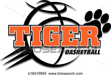 Clipart Of Tiger Basketball Design K18419994 Search Clip Art