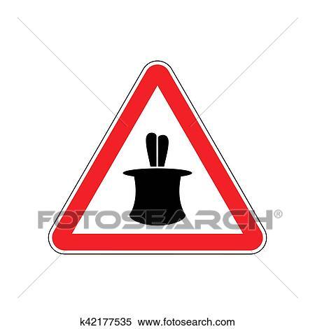 Dessin Panneau Attention clipart - tour magique, panneau avertissement, red., illusion
