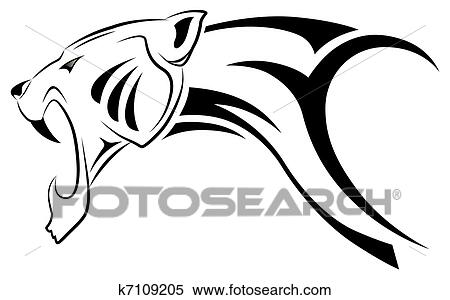 clipart of vector leopard tribal tattoo k7109205 search clip art rh fotosearch com tribal clipart vector tribal clipart png