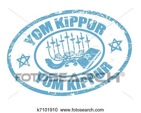 Clipart Of Yom Kippur Stamp K7101910 Search Clip Art Illustration