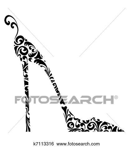 シック レトロ ダマスク織 高い かかとで蹴られた 靴 イラスト