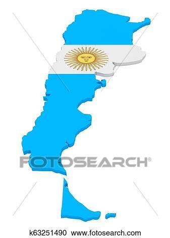 3d Ilustracion De Argentina Mapa Con Argentino Bandera Aislado Blanco Coleccion De Imagen K63251490 Fotosearch