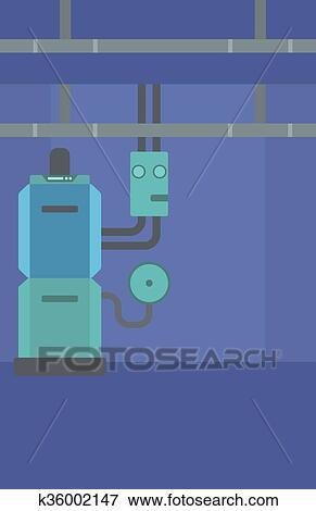 Clip Art of Background of domestic household boiler room. k36002147 ...