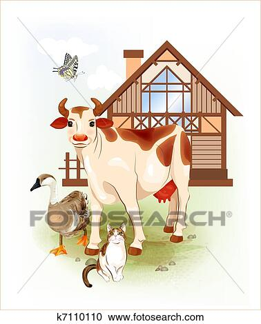 country life farm animals cow cat and goose clipart