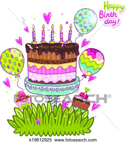 Happy Birthday Card Background With Cake Clipart