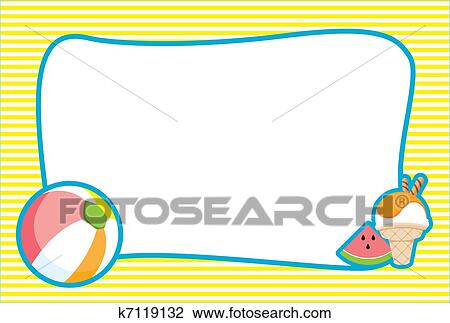 Clip Art of Illustrated Summer Beach Invite/Frame k7119132 - Search ...