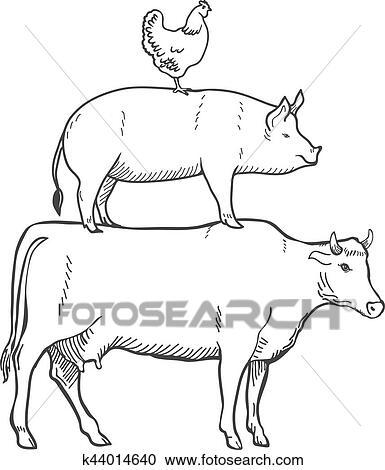 Clipart - pollo, cerdo, vaca, cultive animales, vector k44014640 ...