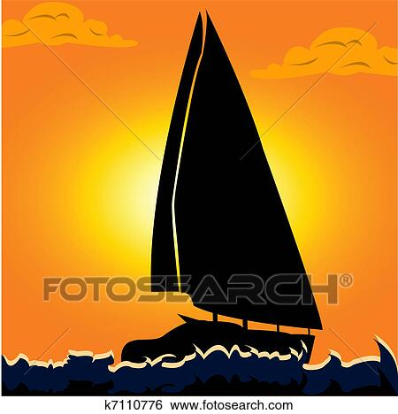 Clip Art Of Sail Boat K7110776