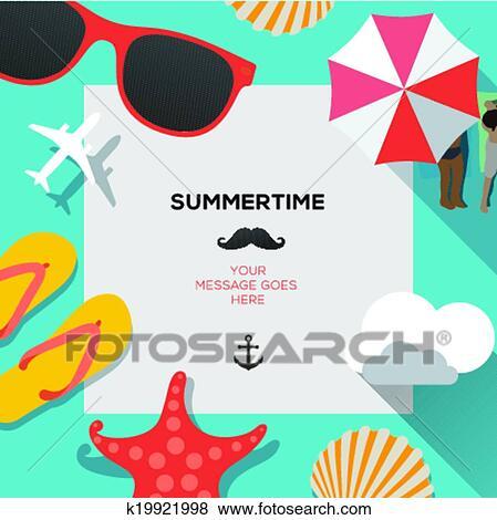 clip art of summertime traveling template with beach summer rh fotosearch com summertime clipart borders summertime clipart