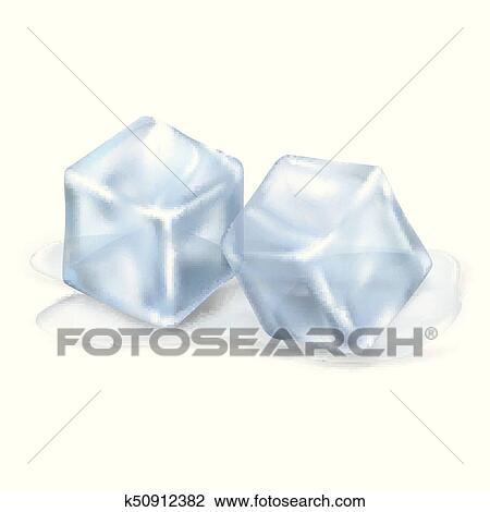 Two Melting Ice Cubes On Transparent Background Clipart K50912382