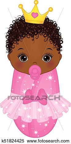 Download Vector Cute African American Baby Girl Dressed as Princess ...