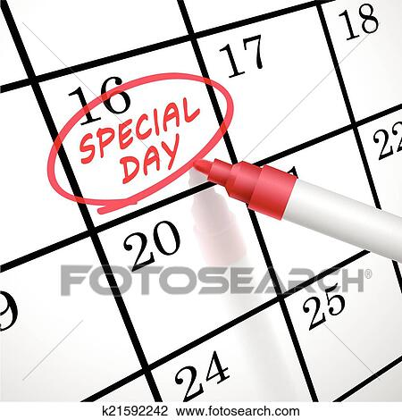 Clipart besonderer tag w rter kreis markiert auf a for Clipart calendario