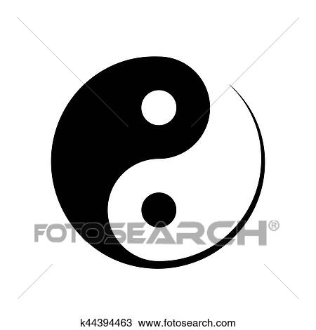 Clipart Of Black And White Yin Yang Symbol K44394463 Search Clip
