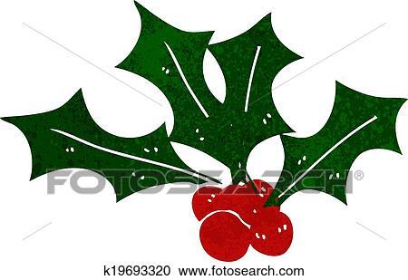 Christmas Holly Cartoon.Cartoon Christmas Holly Clipart K19693320 Fotosearch